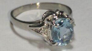 Solid platinum natural aquamarine and diamond ring 3.94 grams - sz 6.5