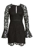 ASTR the Label Juliette Lace Bell Sleeves Size Small Black Party Cocktail Dress