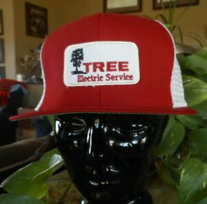 Vintage Mesh Tree Electric Service Red White Snap back Hat Cap Summer