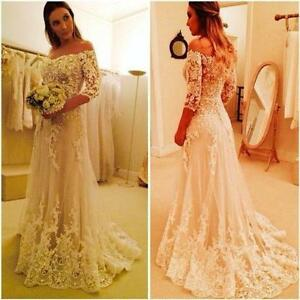 White Ivory Lace Wedding Dresses  3/4 Sleeve Off Shoulder Tulle Bridal Gowns