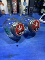 Two Glass Stash Jars Prescription Weed Smell Proof- THC And Leaf