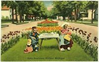 Postcard Holland MI Tulip Boulevard Dutch Dressed Girls Tea Party Michigan Linen