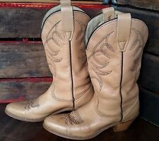 Vintage WRANGLER Cowgirl Tan Leather Western Cowboy Boots Women's 6.5B