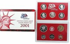 2001 S US Mint Silver Proof 10 Coin Set