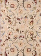 Hand-tufted Classic Floral Ivory Square 10x10 Oushak Oriental Area Rug New