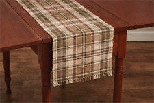"""Green, Wine, Tan, Ivory Plaid Thyme 13""""x36"""" Table Runner by Park Designs"""