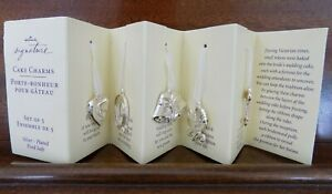NEW Set of 5 Hallmark Signature Bride's Wedding Cake Charms Silver-Plated