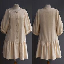 Plenty Tracy Reese Cream Coat Wool Cotton Tweed Bubble Sleeve Pleat Hem NWT S M