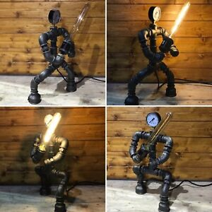 Star Wars Jedi Knight, Lightsaber, Robot, Table Lamp, Steampunk, Retro, Art