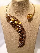 Womens Ladies STATEMENT Gold Yellow Choker Collar Bib Necklace Crystal Diamante