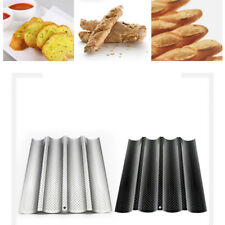 2Pcs 4 Wave Baker Baking Non-Stick Perforated French Bread Pan Baguette Mold Us