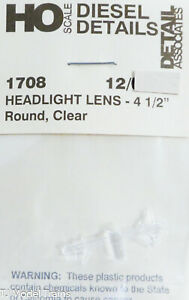 "Detail Associates HO #1708 Headlight Lens 4 1/2"", Round Clear (Plastic Parts)"