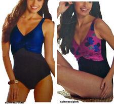 Einteiler Badeanzug Wickeloptik Gr.38-40 in 2 Farben schwarz-, pink/blau Neu