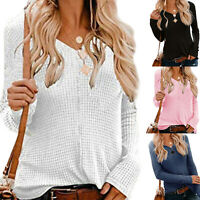 Women's Vintage Causal Knitted Sweater Dress Jumper Winter Pullover V Neck Tops