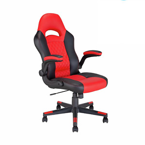Refurbished Argos Home Raptor Faux Leather Gaming Chair - Black & Red .