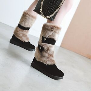 Lady Round Toe Suede Warm Fur Lining Calf Mid Boots Faux Suede Flat Student Shoe