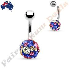 316L Surgical Steel Belly Ring with Clear Pink & Blue Crystal Paved Ferido Ball