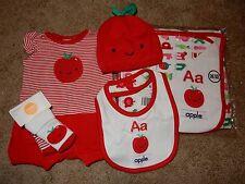NWT NB GYMBOREE APPLE ABC Alphabet 6pc Set Romper Hat Socks Blanket Bib Outfit