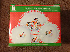 16pc Merry Brite (Holiday Home Collection) Winter Snowman Dinnerware Set-Party 4