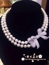 """double strands 9-10mm south sea round white pearl necklace 17""""18"""""""
