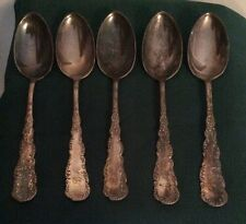 5 Cromwell Silverplate 1895  (Rogers/Hamilton) PLACE SPOONS / OVAL SOUP mono B M