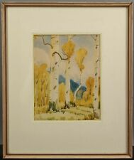 Authentic Utah THEODORE WASSMER Autumn Birch Tree Landscape Watercolor Painting