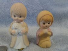 Sweet Precious Moments Style Boy With Lamb And Praying Girl Figurines