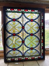 More details for 19th century iron framed window panel leaded glass which has a opening frame