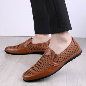 Men Breathable Anti-Skid Loafers Driving Flats Slip On Mesh Low Top Summer Shoes