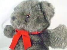 Fiesta Teddy Bear Plush Silvery Dark Gray Stuffed Animal Red Ribbon 13""