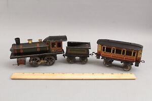Antique Bing Tin Wind-Up Steam Locomotive Train, Tender & Passenger Car, NR