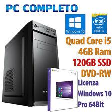 COMPUTER ASSEMBLATO NUOVO PC FISSO DESKTOP CORE i5-650 RAM 4GB SSD 120GB WIN 10