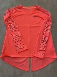 Under Armour Long Sleeve Youth Size XL Girls Bright Orange Logo