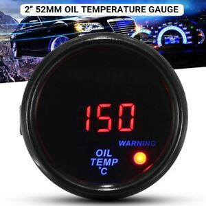 CAR VEHICLE 2'' 52mm BLUE & RED DIGITAL LED OIL TEMPERATURE TEMP GAUGE   ·~