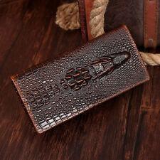Men Crocodile Head Bifold Credit Card Wallet Organizer Purse Retro Classic Brown