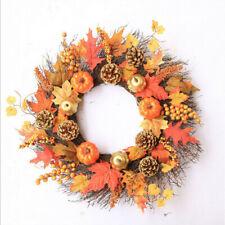Festival Decor 40CM 60CM Halloween Fall Door Pumpkin Wreath Maple Leaf Garland