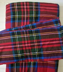 Lands's End Queen Flannel Flat Sheet Plaid, Red, White & Blue