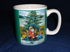 "3.5"" ceramic Santa Claus outside w/Children Christmas Mug"