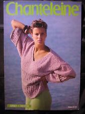 "Paper Knitting Pattern Vintage 80s Chanteleine 27 Ladies Jumper DK V neck 32-42"""