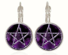 18mm handmade Earrings Jewelry Gc-13 new Purple star silver Glass cabochon