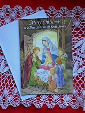 """""""Merry Christmas for a  Dear Sister in Lord's Service"""" Card. NEW, with envelope"""
