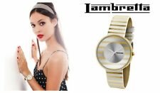 Nuevo Dama Retro Estilo Lambretta Cielo Stripes Oro Reloj De Cuero Modelo 2105GOL