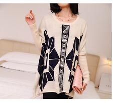 Caldo morbido maglione maglia pullover donna beige girocollo misto lana 4246
