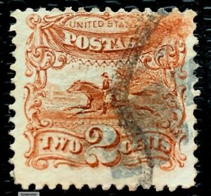1869 US SC#113 2c Brown Post Horse & Rider Well Centered Used