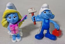 Smurf Handy and Smurfette Action Figures Cake Toppers 3""