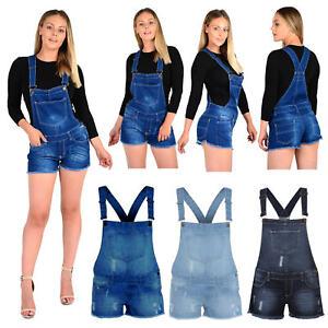 New Women Ladies Girls Monika Dungarees Stretch Denim Jeans Short Dress Jumpsuit