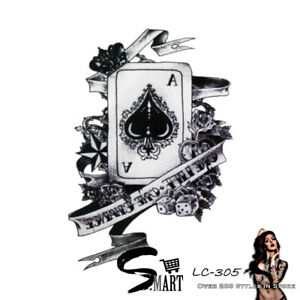 Ace Spade Card Dices Game Arm Temporary Tattoo Sticker Black & White LC305