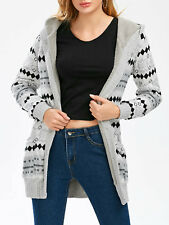 Hot Women Hooded Cardigan Coat Jacket Tops Thicken Fleece Warm Long Parka Tops