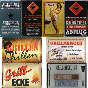 Blechschild Schilder 20x30cm Grillen lustige Sprüche Garten Party Männertag