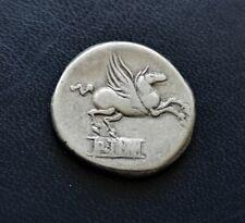 Roman Republic Silver Denarius 90 BC Q. Titius Head of Bacchus Pegasus Tablet